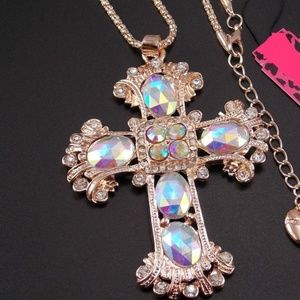 Gold Tone Cross Necklace